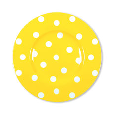 Assiette dessert à pois jaune en porcelaine 22cm