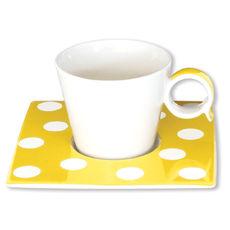Tasse à café à pois jaune en porcelaine 12cl