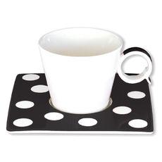 Tasse à café à pois noir en porcelaine 12cl