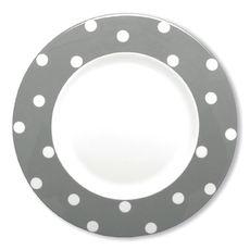 Assiette plate à pois gris en porcelaine 29cm