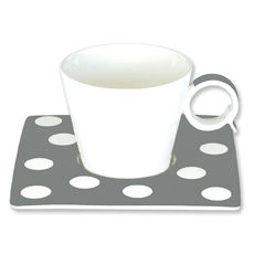 Tasse à café à pois gris en porcelaine 12cl