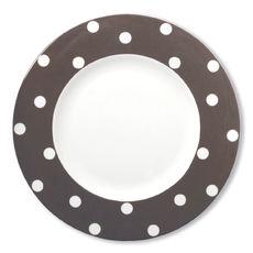 Assiette plate à pois vison en porcelaine 29cm