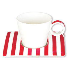 Tasse à café à rayures rouge en porcelaine 12cl