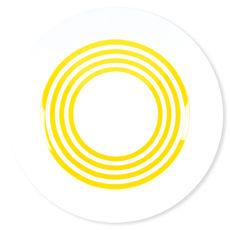 Assiette creuse à rayures jaune en porcelaine 24cm