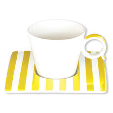 Tasse à café à rayures jaune en porcelaine 12cl