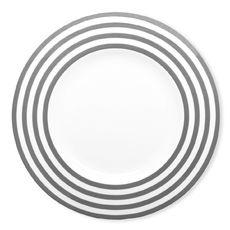 Assiette plate à rayures gris en porcelaine 29cm