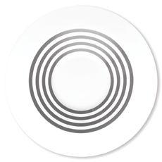 Assiette creuse à rayures gris en porcelaine 24cm