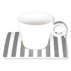 Tasse à café à rayures gris en porcelaine 12cl