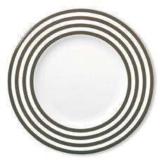 Assiette plate à rayures vison en porcelaine 29cm