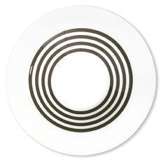Assiette creuse à rayures vison en porcelaine 24cm
