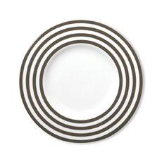 Assiette dessert à rayures vison en porcelaine 22cm