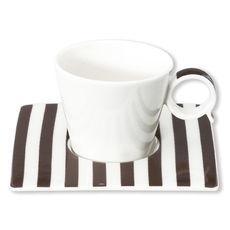 Tasse à café à rayures vison en porcelaine 12cl
