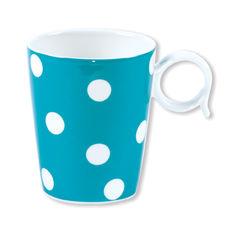 Mug à pois turquoise en porcelaine 32cl