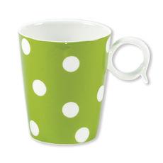 Mug à pois vert anis en porcelaine 32cl