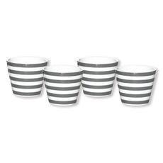 Gobelet expresso à rayures gris en porcelaine 10cl
