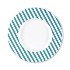 Assiette dessert à rayures turquoise en porcelaine 23cm