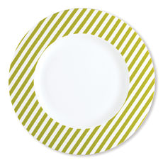 Assiette plate à rayures vert anis en porcelaine 29cm