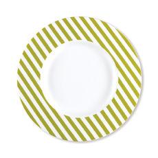 Assiette dessert à rayures vert anis en porcelaine 23cm
