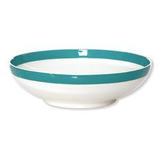 Assiette creuse filet turquoise en porcelaine 20cm