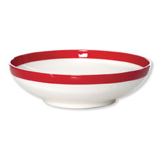 Assiette creuse filet rouge en porcelaine 20cm