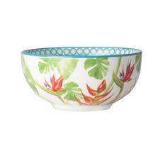 Coupelle en porcelaine décor tropical 12,5cm