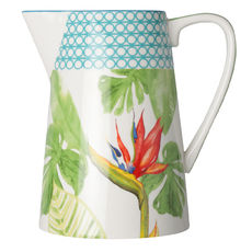 Pichet en porcelaine décor tropical 3,5L