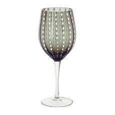Verre à vin en verre soufflé bouche gris 40cl