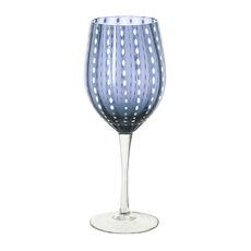Verre à vin en verre soufflé bouche bleu marine 40cl
