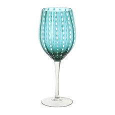 Verre à vin en verre soufflé bouche bleu turquoise 40cl