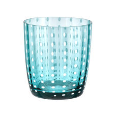 Gobelet bas en verre soufflé bouche bleu turquoise 35cl