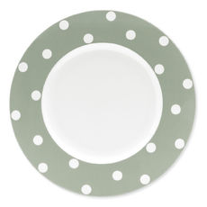 Assiette plate en porcelaine vert sauge à pois 29cm