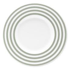 Assiette plate à rayures vert sauge en porcelaine 29cm