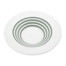 Assiette creuse à rayures vert sauge en porcelaine 24cm