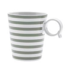 Mug à rayures vert sauge en porcelaine 32cl