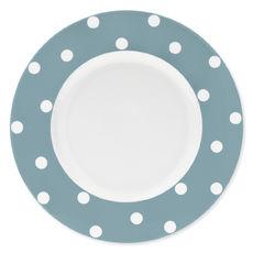 Assiette plate à pois bleu jean en porcelaine 29cm