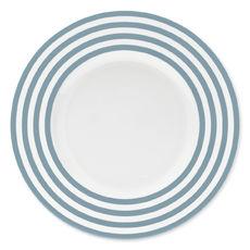 Assiette plate à rayures bleu jean en porcelaine 29cm
