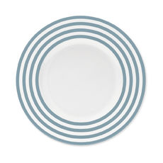 Assiette dessert à rayures bleu jean en porcelaine 22cm