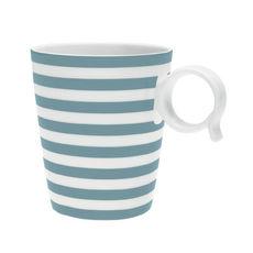 Mug à rayures bleu jean en porcelaine 32cl