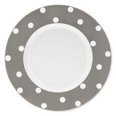 Assiette plate à pois taupe en porcelaine 29cm