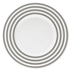 Assiette plate à rayures taupe en porcelaine 29cm