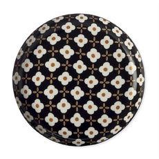 Assiette plate en porcelaine fleur blanche 23cm
