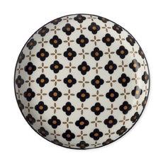 Assiette plate en porcelaine fleur noire 23cm