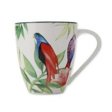 Mug en porcelaine décor exotique blanc 50cl