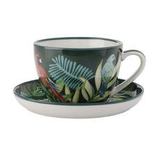 Tasse à thé en porcelaine décor exotique 33cl