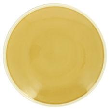 Plat rond jaune et taupe en grès 30cm