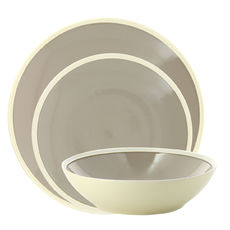 Service de 3 assiettes gris en grès