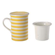 Tisanière rayures jaune en porcelaine 25cl