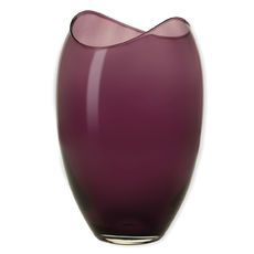 Vase en verre transparent bordeaux 25,5cm
