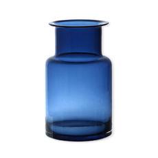 Vase bleu marine en verre soufflé bouche 25cm