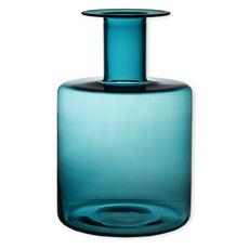 Vase bleu turquoise en verre soufflé bouche 40cm